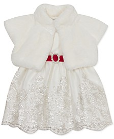 Baby Girls 2-Pc. Faux Fur Shrug & Embroidered Dress Set