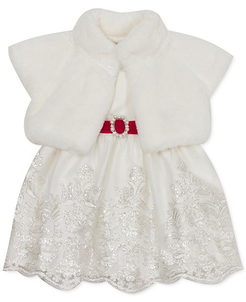 Rare Editions Baby Girls 2-Pc. Faux Fur Shrug & Embroidered Dress Set