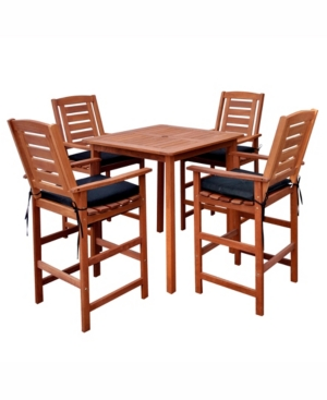Corliving Distribution Miramar 5 Piece Hardwood Outdoor Bar Height Bistro Set -  PEX-263-Z