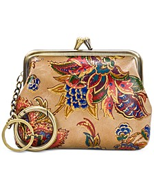 French Tapestry Large Leather Coin Purse