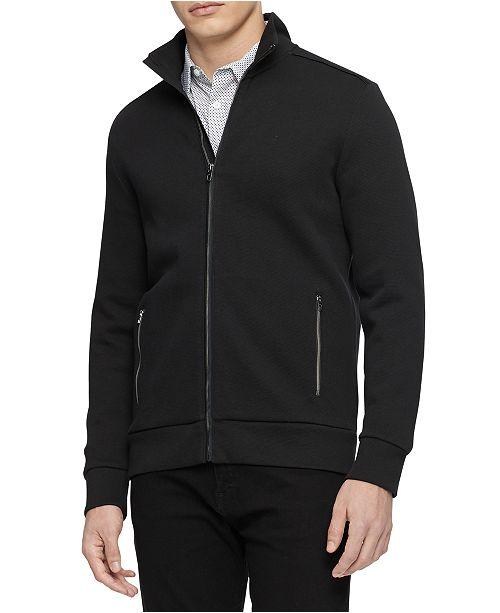 Calvin Klein Men's Mock-Neck Jacquard Zip Sweater