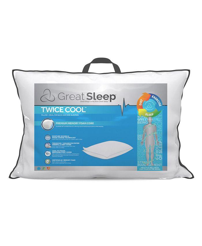 Great Sleep - Twice Cool Premium Memory Foam Core King Pillow