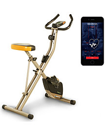 Exerpeutic Folding Bluetooth Smart Cloud Fitness Magnetic Upright Exercise Bike