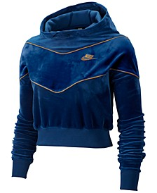Women's Sportswear Heritage Colorblocked Velour Cropped Hoodie