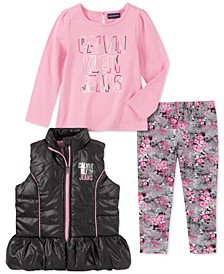 Little Girls 3-Pc. Ruffled Vest, Logo Top & Printed Leggings Set