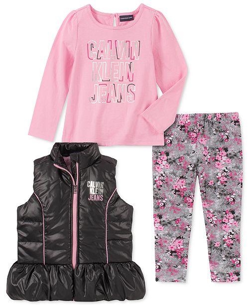 Calvin Klein Toddler Girls 3-Pc. Ruffled Vest, Logo Top & Printed Leggings Set