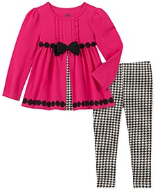 Little Girls 2-Pc. Bow Tunic & Printed Leggings Set
