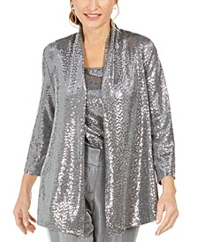 Petite Open-Front Metallic Jacket