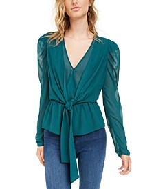 Puff Sleeve Tie-Front Top