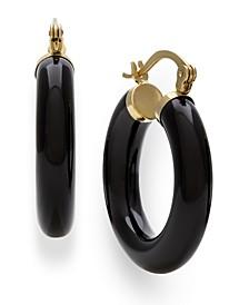 Black Onyx (25 mm)  Hoop Earrings in 14k Yellow Gold