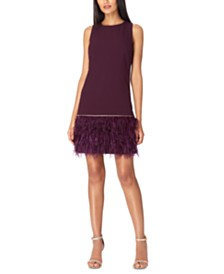 Tahari ASL Crepe Faux-Feather Dress