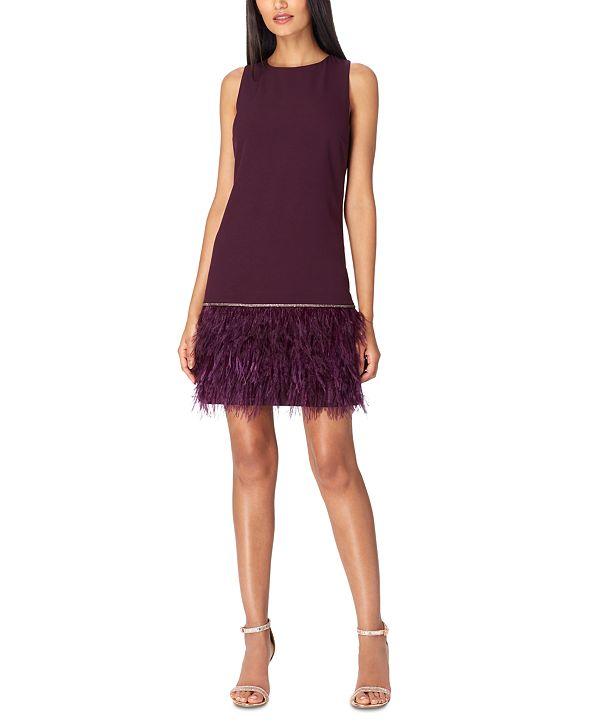 Tahari ASL Crepe Faux-Feather Dress