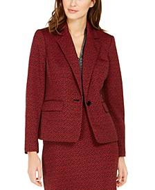 One-Button Jacquard Blazer