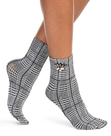 INC Women's Embellished Glen Plaid Anklet Socks, Created For Macy's