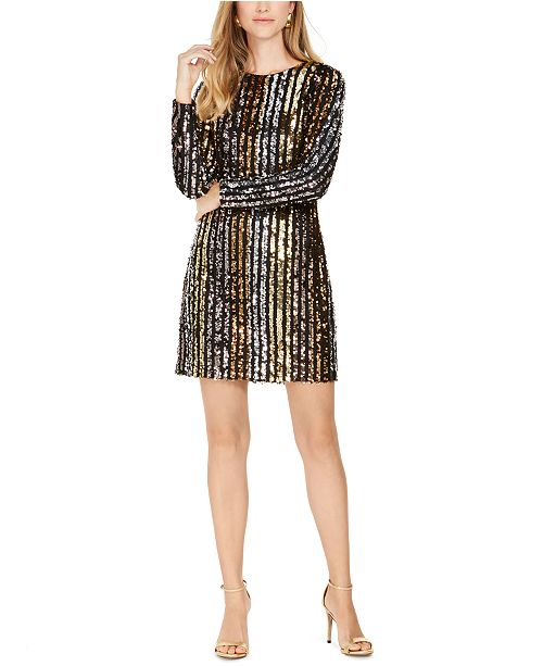 Vince Camuto Striped Sequin Shift Dress