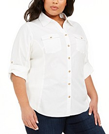 Plus Size Ribbed-Panel Collared Blouse
