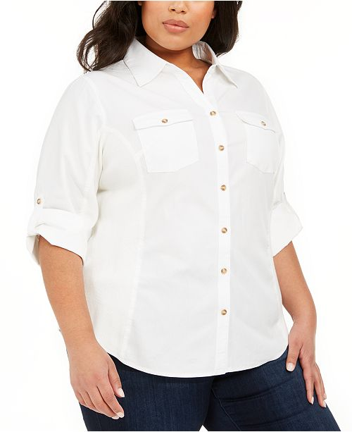 NY Collection Plus Size Ribbed-Panel Collared Blouse