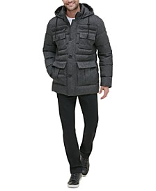 Men's Herringbone Hooded Puffer Jacket