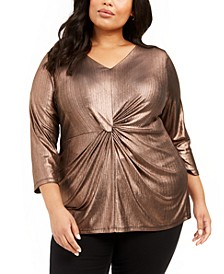 Plus Size Metallic Twist-Front Top, Created For Macy's