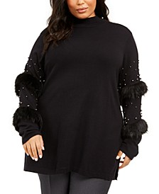 Plus Size Embellished-Sleeve Tunic, Created For Macy's