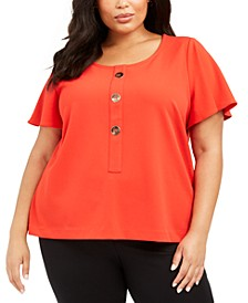 Plus Size Button-Trim Flutter-Sleeve Top, Created For Macy's