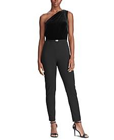 Velvet-Jersey One-Shoulder Jumpsuit