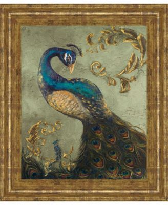 """Peacock on Sage Il by Tiffany Hakimipour Framed Print Wall Art - 22"""" x 26"""""""