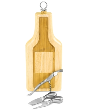 Picnic Time Silhouette Wine Bottle Cutting Board with Cheese Tools