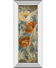 "Poppies De Bleu Il by Lanie Loreth Mirror Framed Print Wall Art - 18"" x 42"""