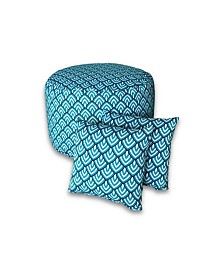 Savvy Chic Living Outdoor Large Round Pouf and Pillow Pack