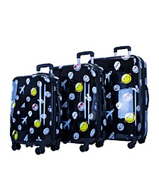 Printed 3-Pc. Hardside Luggage Set