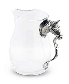 Pewter Horse Head Equestrian Handle Glass Pitcher