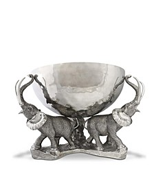 3 Pewter Elephant Trio Stainless Punch, Ice Bowl