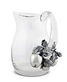 Water, Juice Pitcher Glass with Pewter Apple Pattern