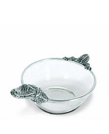 Pewter Alligator Glass Dip Bowl