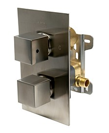 Brushed Nickel Square Knob 1 Way Thermostatic Shower Mixer