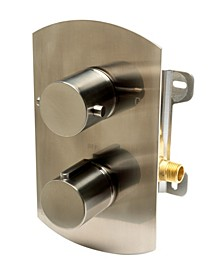 Brushed Nickel Round Knob 1 Way Thermostatic Shower Mixer