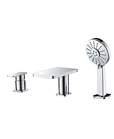 Polished Chrome Deck Mounted Tub Filler with Hand Held Showerhead