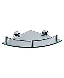 Polished Chrome Corner Mounted Glass Shower Shelf Bathroom Accessory