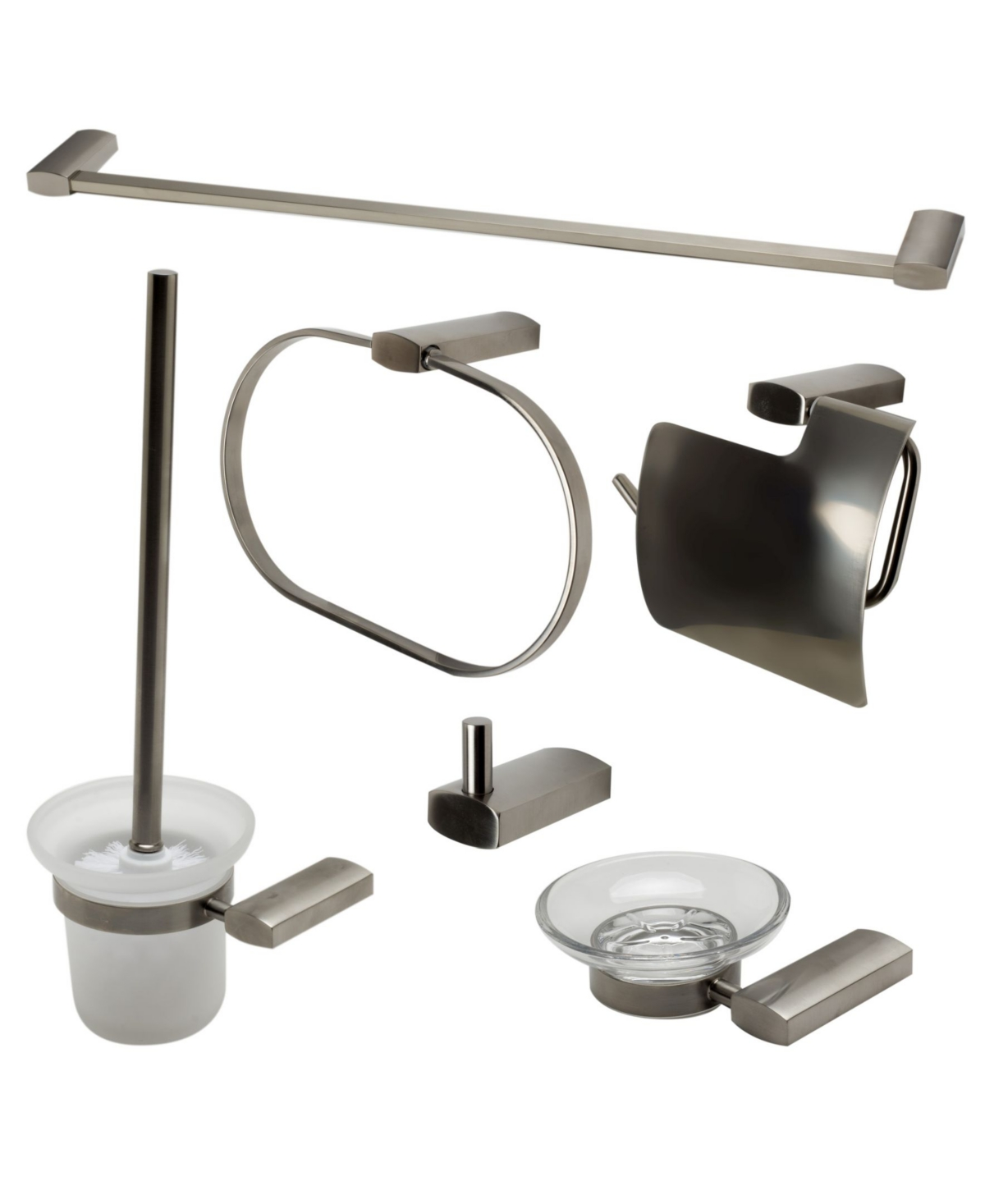 Alfi brand Brushed Nickel Matching Bathroom Accessory Set, 6 Piece Bedding