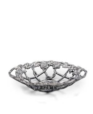 Arthur Court Grape Pattern Fruit, Centerpiece Metal Basket - Cast Aluminum
