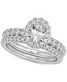 GIA Certified Oval Diamond Bridal Set (1-1/2 ct. t.w.) in 14k White Gold