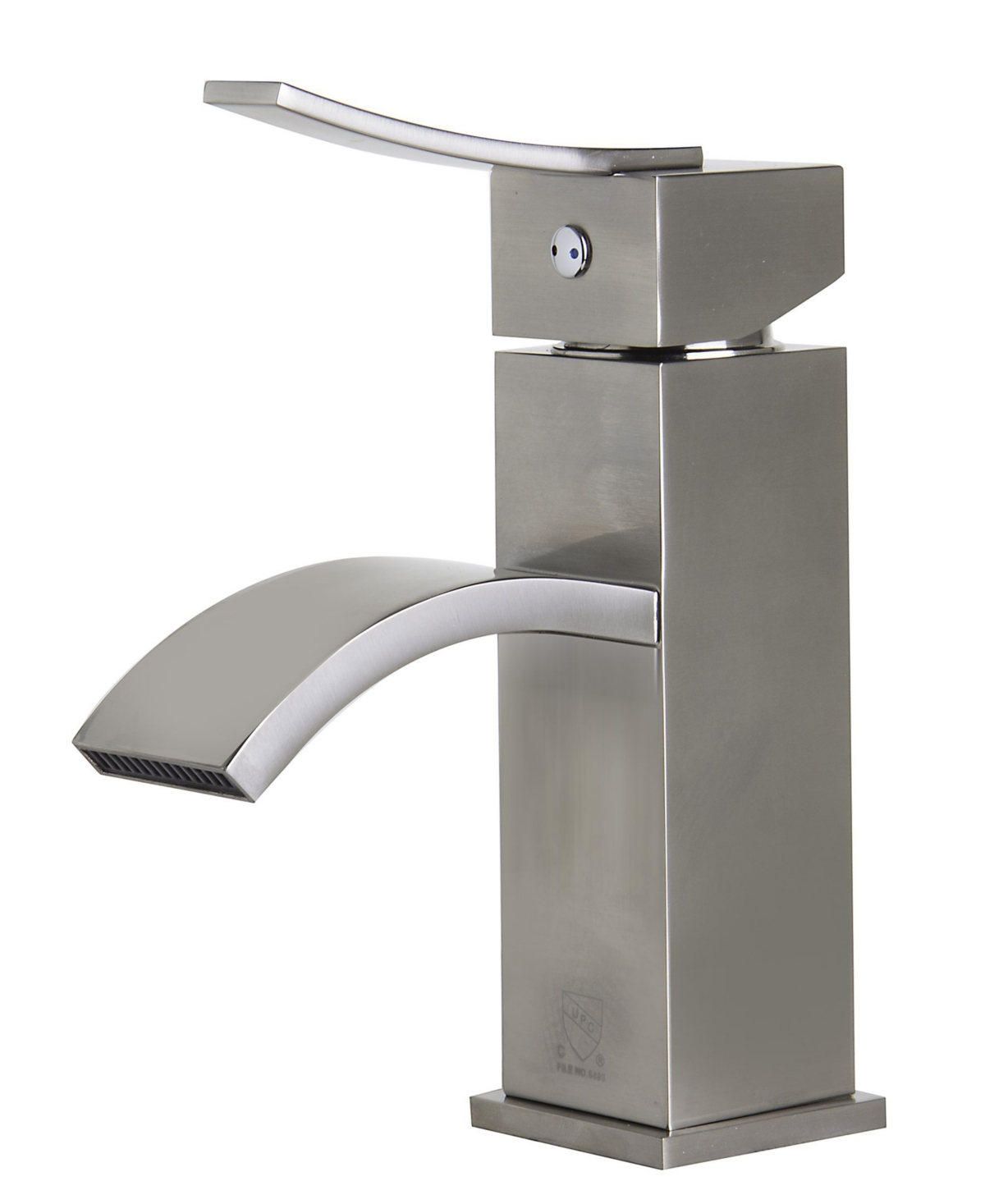 Alfi brand Brushed Nickel Square Body Curved Spout Single Lever Bathroom Faucet Bedding