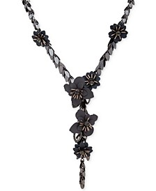 "Hematite-Tone Crystal & Imitation Pearl Flower Lariat Necklace, 22"" + 3"" extender"