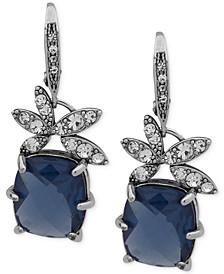 Silver-Tone Pavé Flower & Stone Drop Earrings