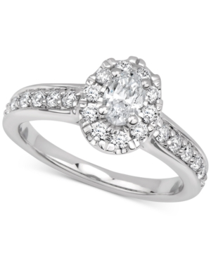 Gia Certified Diamond Oval Halo Engagement Ring (1 ct. t.w.) in 14k White Gold