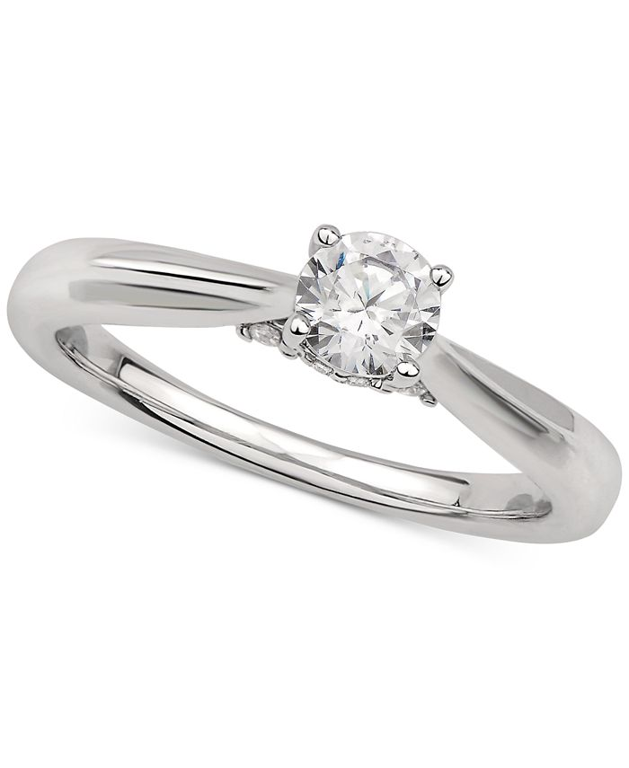 GIA Certified Diamonds - Certified Diamond Solitaire Engagement Ring (1/2 ct. t.w.) in 14k White Gold