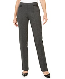 Faux-Leather-Trim Ponte-Knit Pants, Created for Macy's