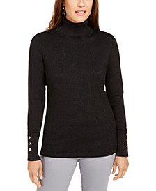 Metallic Turtleneck Stud-Cuff Sweater, Created For Macy's