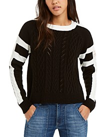 Contrast-Trim Cable-Knit Sweater, Created For Macy's